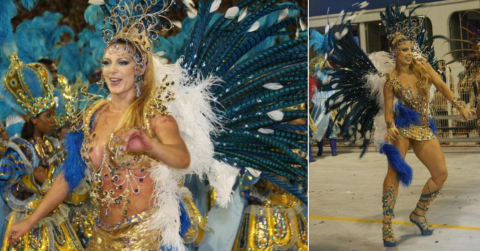 Com 33 anos, a dançarina Sheila Mello, que integrou o É o Tchan, desfila há seis anos em escolas de samba. Atualmente é madrinha da Acadêmicos do Tucuruvi, em São Paulo. Tem 1,70 m e pesa 66 kg. Medidas: 92 cm de busto, 62 cm de cintura e 101 cm de quadril