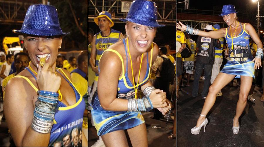 Rainha de bateria da Unidos da Tijuca há seis anos, Adriane Galisteu já foi madrinha da Portela e da Acadêmicos da Rocinha. A apresentadora tem 37 anos, pesa 64 kg e tem 1,74 m de altura. Medidas: 92 cm de busto, 63 cm de cintura e 93 cm de quadril