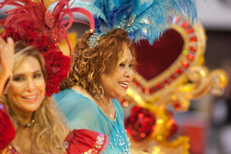 As cantoras Rosemary (e) e Alcione (d) desfilam samba em homenagem a Roberto Carlos com a Beija-Flor (07/03/2011)