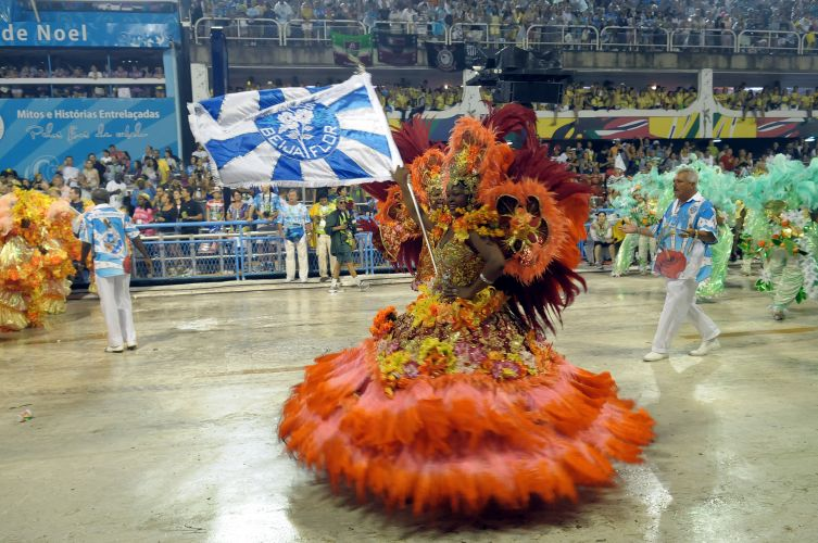 Porta-bandeira da Beija-Flor durante o desfile do samba