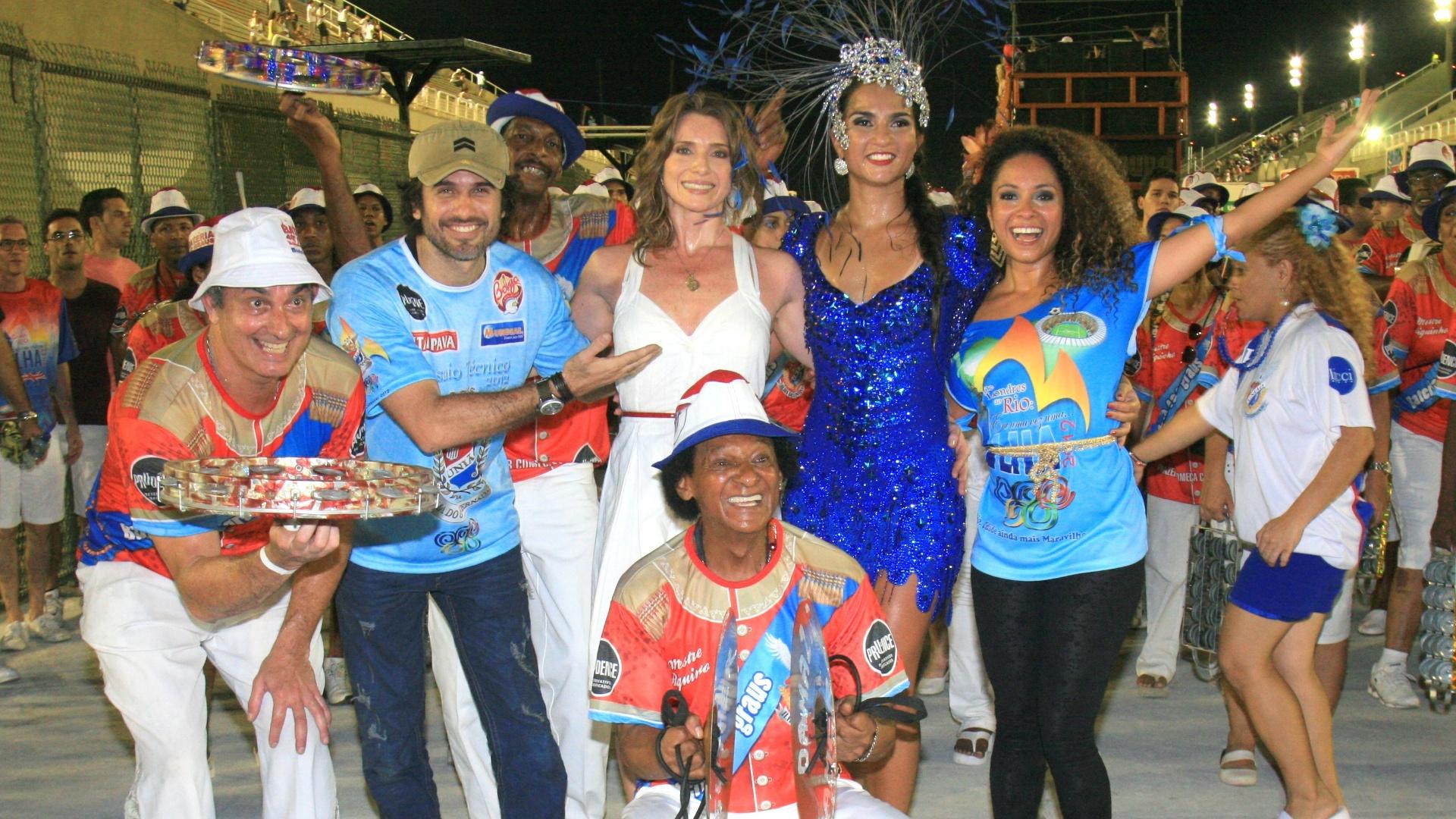 Letícia Spiller, Eriberto Leão e Cinara Leal participaram neste domingo (15) do ensaio da União da Ilha