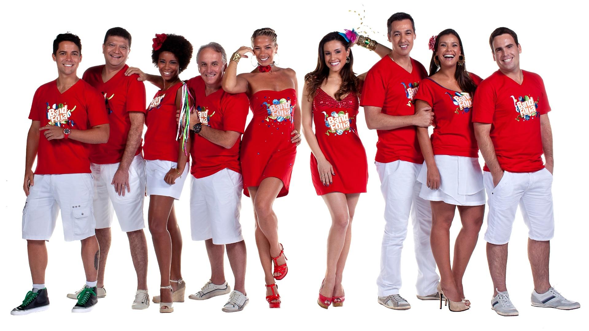 Equipe de apresentadores da Band que comandarão o Band Folia, cobertura especial do Carnaval