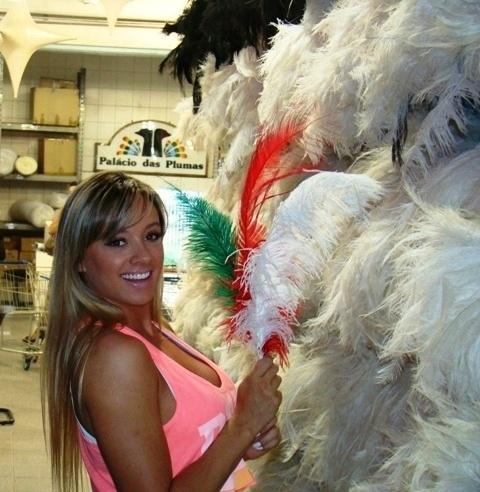 Musa da Mancha Verde, a ex-Panicat Juju Salimeni Salimeni visitou no começo da tarde de terça-feira a loja Palácio das Plumas, em São Paulo, para acertar os últimos detalhes da sua fantasia  (14/2/12)