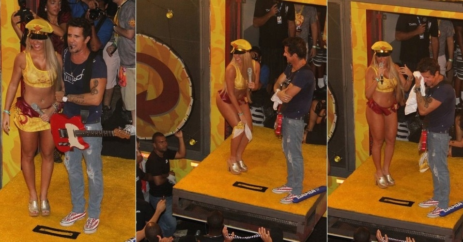 Em show de Tuca (ex-Jammil) em Salvador, panicat Ariane Steinkopf tira a saia e fica s&#243; de b&#237;quini (19/2/12)