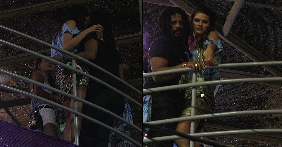 Isabeli Fontana beija namorado Rohan Marley em camarote do Carnaval de Salvador (19/2/12)