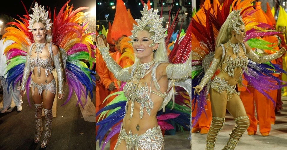 Fantasia de Antonia Fontenelle, rainha de bateria da Mocidade Independente simboliza as cores usadas nas tela de Portinari (20/2/2012)