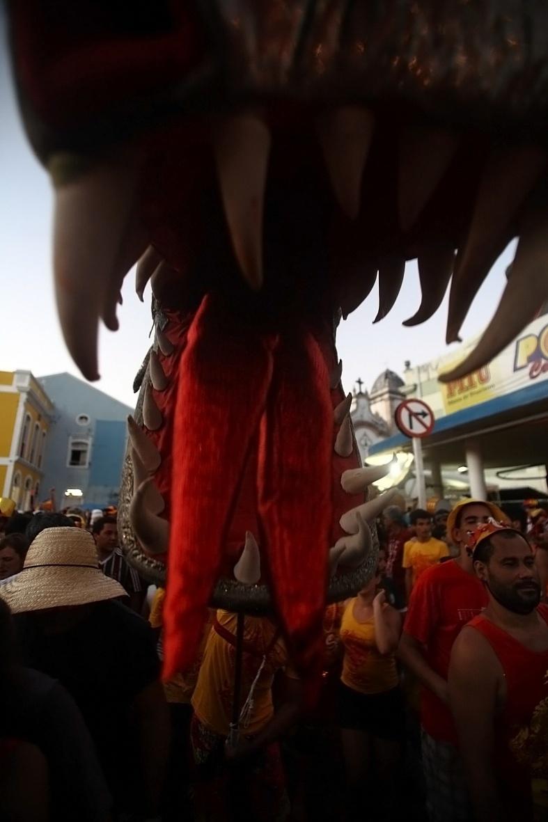 """Bloco """"Eu Acho é Pouco"""" diverte foliões nas ladeiras de Olinda em Pernambuco, com o tradicional dragão (21/2/12)"""