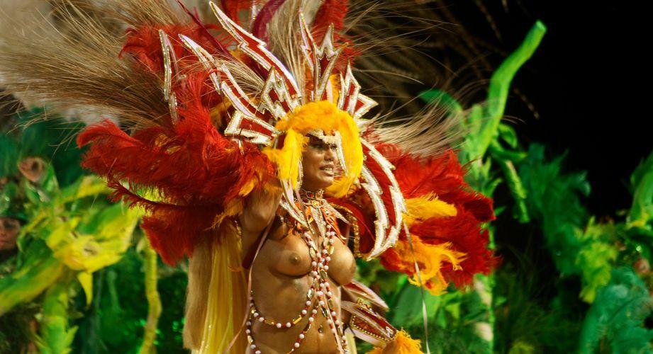 Destaque de alegoria da escola desfila samba sobre agricultura na Sapucaí (07/03/2011)