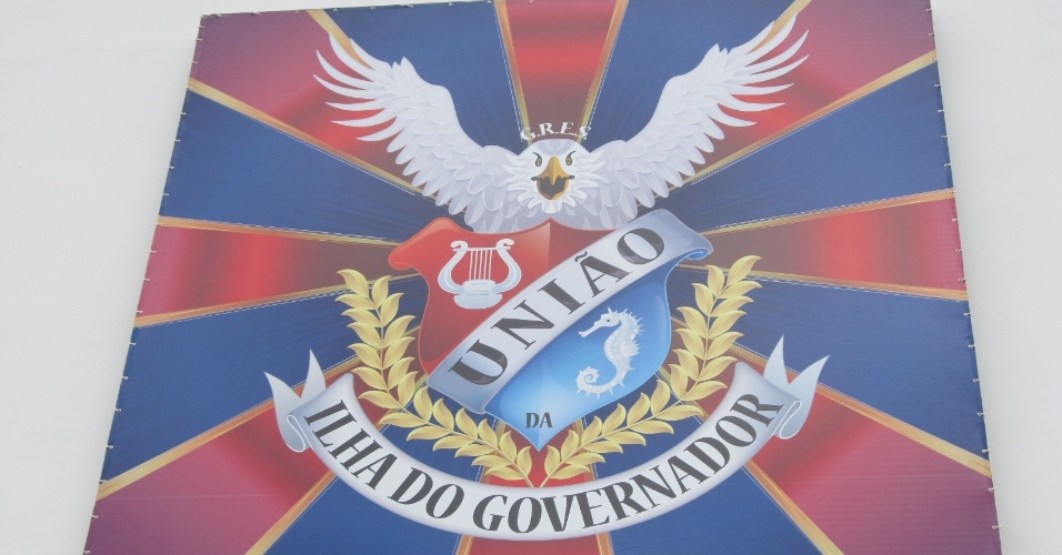 Bandeira da escola União da Ilha, na quadra reinaugurada neste domingo (18/12/11)