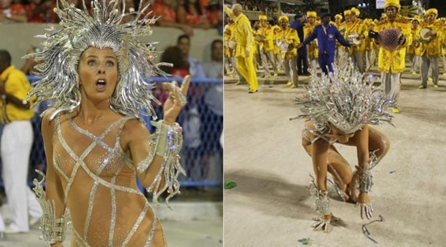 Adriane Galisteu escorrega durante o desfile da Unidos da Tijuca, no Carnaval de 2011