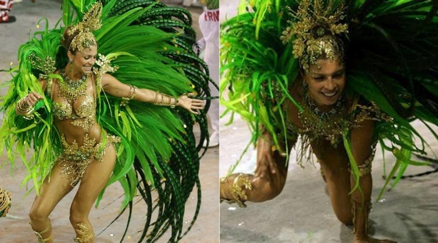 Grazi Massafera cai durante o desfile da escola de samba Acadêmicos do Grande Rio no Carnaval de 2007