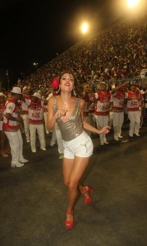A atriz Sophie Charlotte participou de ensaio técnico do Salgueiro na Sapucaí na sexta-feira (10/02/12)