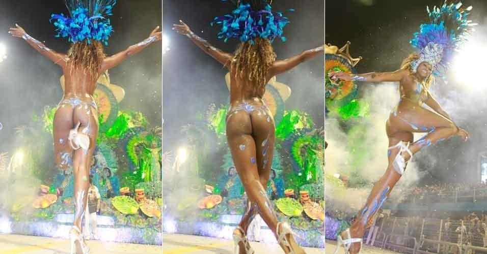 A passista Elaine de Abreu, 32 anos, desfila na escola Rosas de Ouro, com um peixe pintado no corpo (17/2/12)