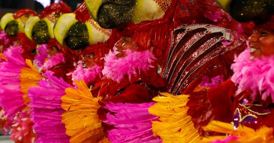 Ala com integrantes com cabeça de arara que representa a chega dos húngaros ao Brasil em desfile da Rosas de Ouro (18/2/2012)