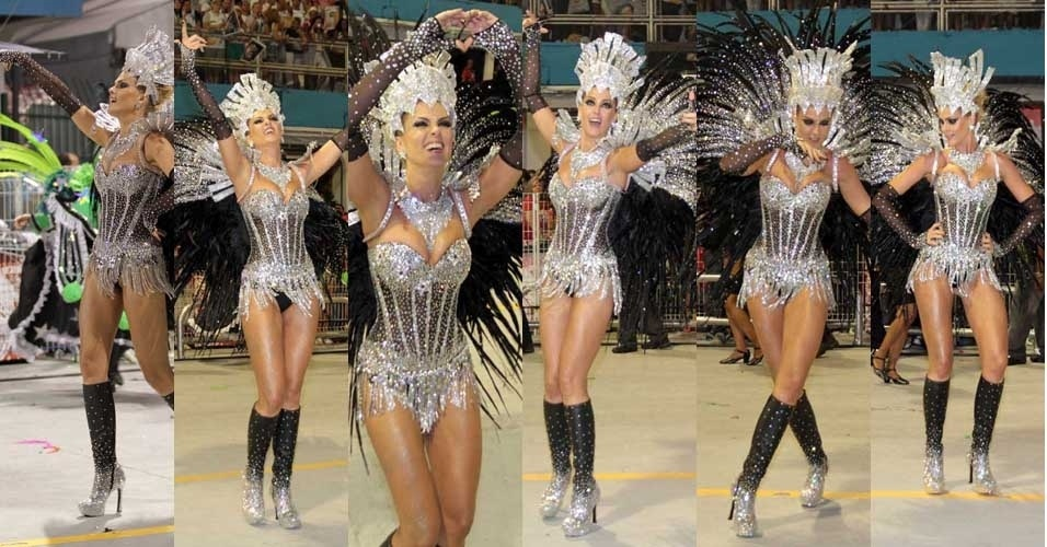 Ana Hickmann samba e mostra seu carisma para o público durante desfile da Vai-Vai (18/2/2012)