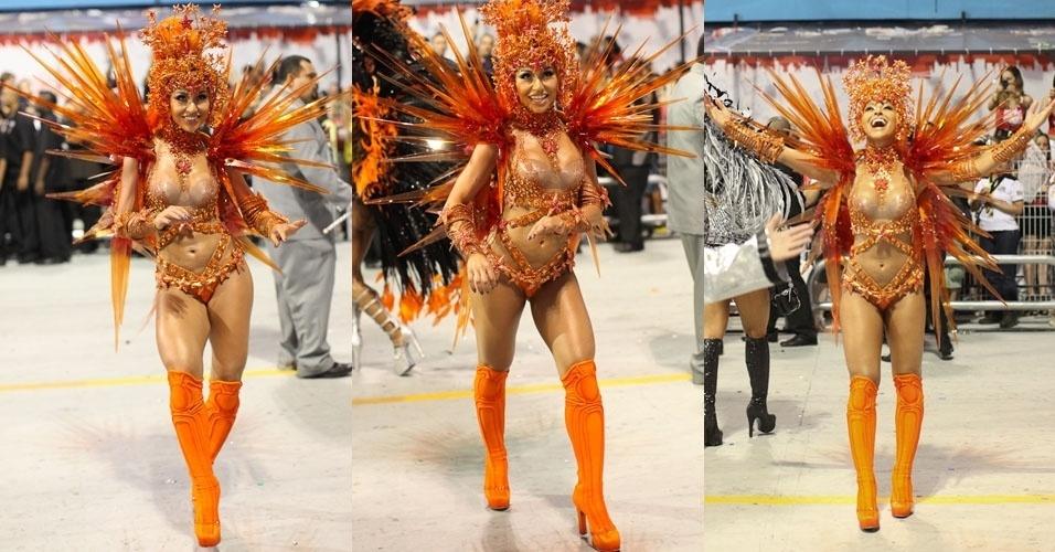 Rainha, Sabrina Sato desfila fantasia inovadora a frente da bateria da Gaviões da Fiel (19/2/2012)