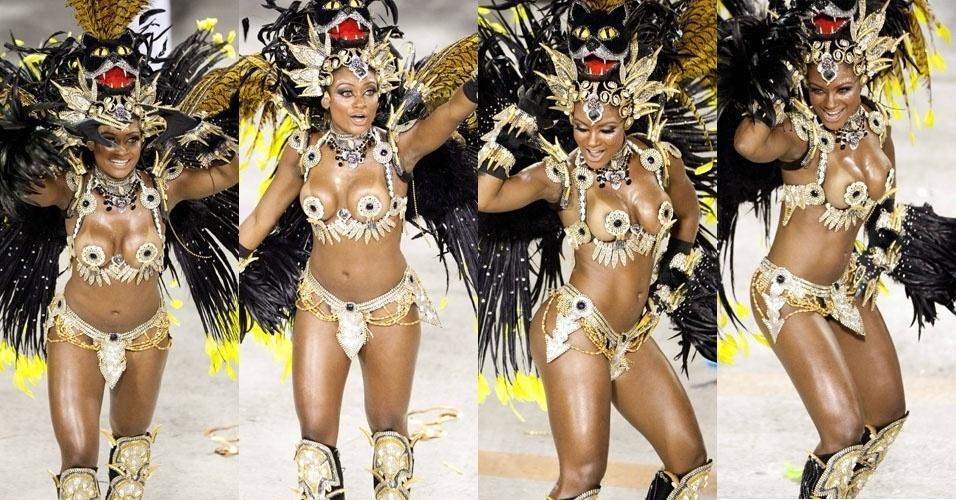 Ex-bbb Jaqueline é destaque da escola de samba Beija-Flor e mostra que tem samba no pé no desfile (20/2/2012)