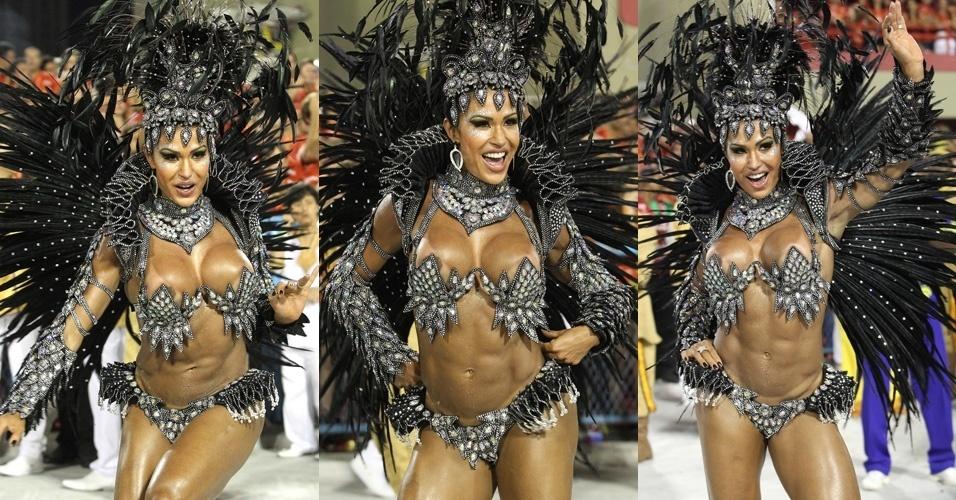 Rainha de bateria, Gracyanne Barbosa desfile enredo sobre Luiz Gonzaga na apresentação da escola Unidos da Tijuca (21/2/2012)