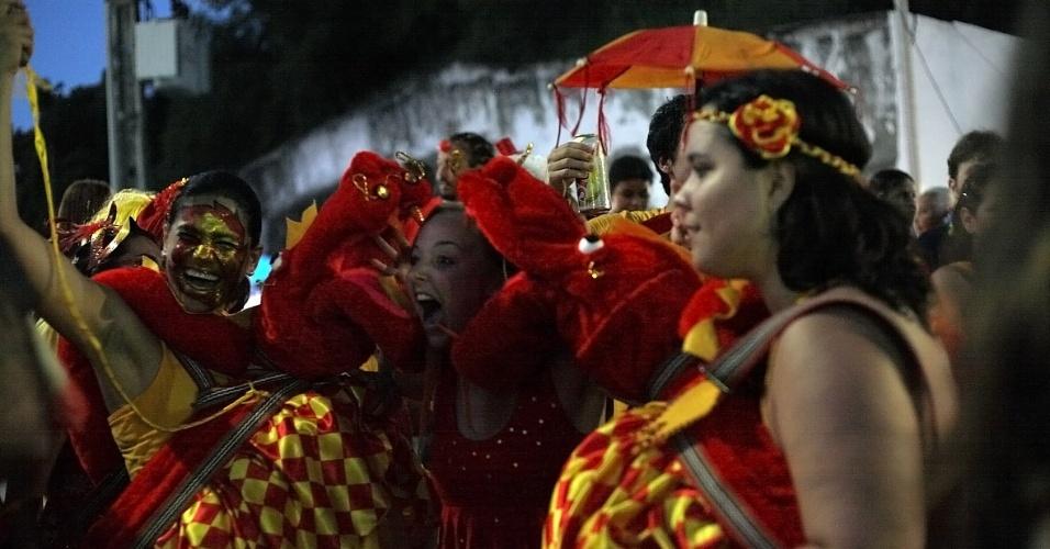 """Bloco """"Eu Acho é Pouco"""" diverte foliões nas ladeiras de Olinda em Pernambuco, e fantasia da grávida de quadrigêmeos continua sendo a preferida neste Carnaval (21/2/12)"""