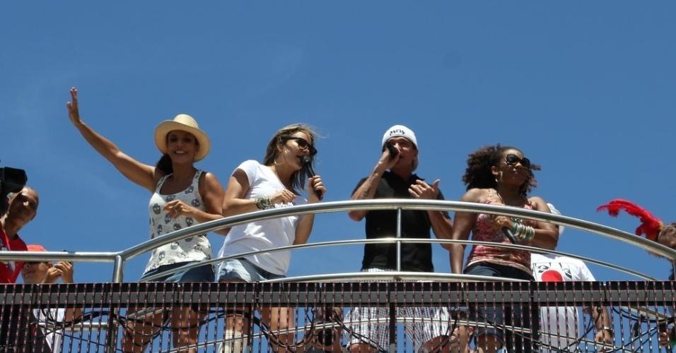 Ivete Sangalo, Claudia Leitte, Netinho e Margareth Menezes agitam foliões no último dia de Carnaval em Salvador, Bahia (22/2/12)