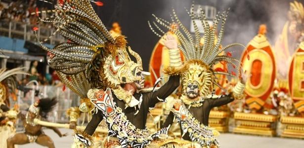 25.fev.2013Comissão de frente da Mocidade Alegre, atual campeã do Carnaval de São Paulo, no desfile do ano passado